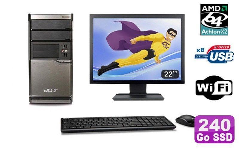 Lot PC ACER M420 Athlon X2 4850B 8Go Disque 240Go SSD DVD WIFI Win XP + Ecran 22