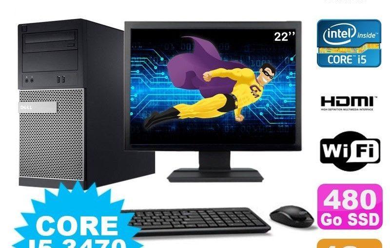 Lot PC Tour DELL 3010 MT I5-3470 Graveur 4Go 480Go SSD HDMI Wifi W7 + Ecran 22″