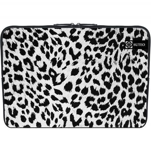 Housse PC Portable 11.6″ pouces – Peau de Leopard Noir et Blanc – ref 377